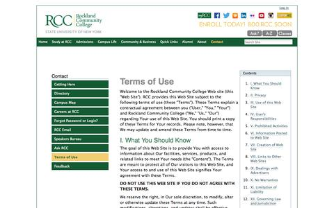 Screenshot of Terms Page sunyrockland.edu - Terms of Use — Rockland Community College - captured Oct. 6, 2014