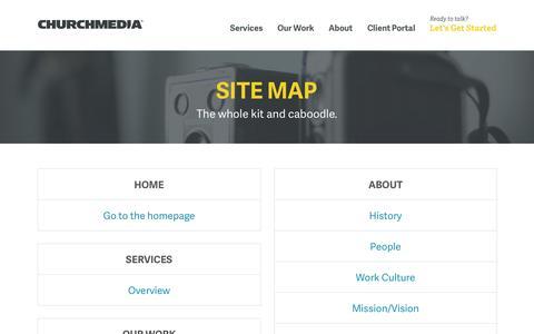 Screenshot of Site Map Page churchmedia.com - Site Map | Church Media Group - captured Jan. 28, 2016