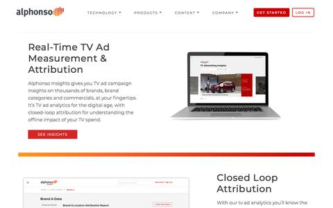 Screenshot of Products Page alphonso.tv - TV Ad Analytics - Alphonso - captured July 20, 2019