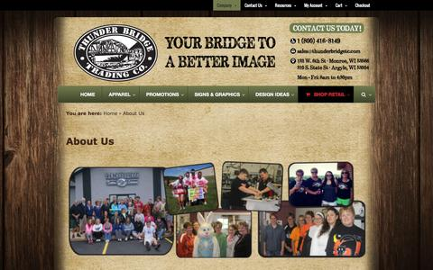 Screenshot of About Page thunderbridgetc.com - About Us - Thunder Bridge Trading Company - captured Feb. 16, 2016