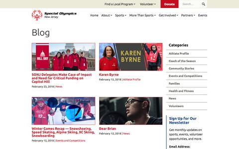Screenshot of Blog sonj.org - Blog | Special Olympics New Jersey - captured Feb. 27, 2018