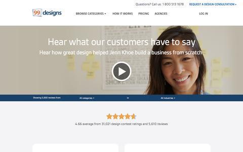 Screenshot of Testimonials Page 99designs.com - 99designs Reviews & Testimonials - captured June 16, 2015