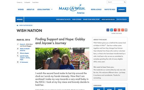 Screenshot of Team Page wish.org - Finding Support and Hope: Gabby and Jaycee's Journey   | Wish Nation | Wishes | Make-A-Wish® America - captured March 7, 2016