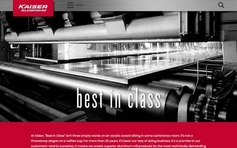 Screenshot of Home Page kaiseraluminum.com - Kaiser Aluminum - captured April 20, 2018