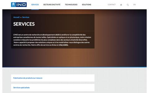 Screenshot of Services Page ino.ca - INO - Services en optique-photonique - captured Sept. 25, 2017