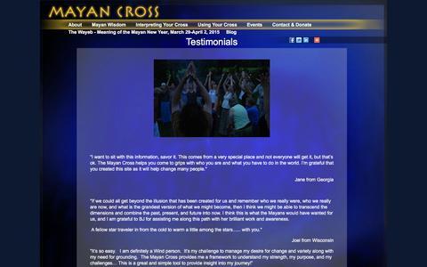 Screenshot of Testimonials Page mayancross.com - Testimonials | MayanCross.com - captured Feb. 8, 2016
