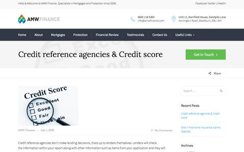 Screenshot of Press Page amwfinance.com - Credit reference agencies & Credit score - AMW Finance - captured May 28, 2017