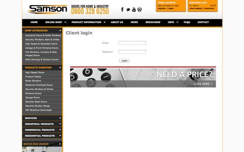 Screenshot of Login Page samsondoors.co.uk captured Oct. 4, 2014