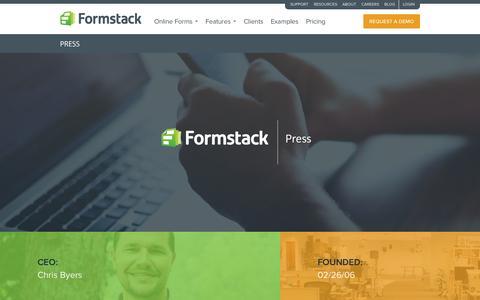 Screenshot of Press Page formstack.com - Press · Formstack - captured Oct. 21, 2015