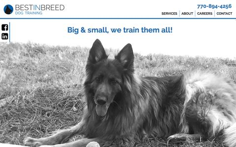 Screenshot of Home Page About Page Contact Page Services Page Jobs Page bestinbreeddogtraining.com - Best In Breed Dog Training - captured Aug. 1, 2018