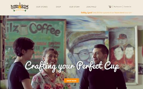 Screenshot of Home Page philzcoffee.com - Welcome to the store - captured Dec. 23, 2015