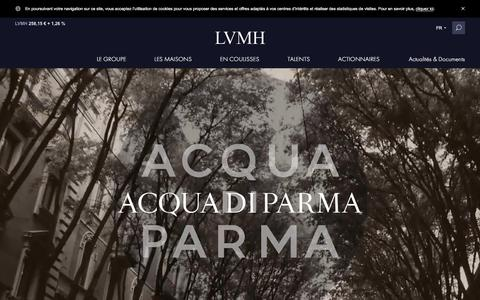 Screenshot of lvmh.fr - Acqua di Parma, fragrances, produits de beauté - Parfums & Cosmétiques - LVMH - captured Nov. 3, 2017