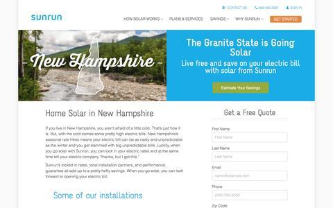Screenshot of sunrun.com - New Hampshire Home Solar - captured March 19, 2016