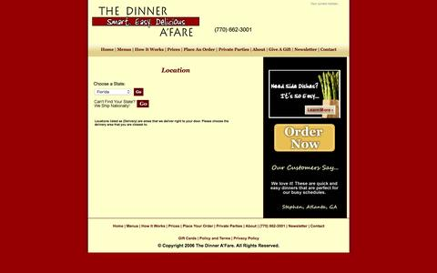 Screenshot of Login Page Locations Page dinnerafare.com - The Dinner A'Fare | Foodie Fresh.  Family Fast.  Financially Friendly. - captured Jan. 23, 2016