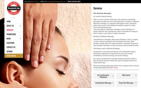 Screenshot of Services Page dreamworks.ae - Dubai Massage Services | Dreamworks Spa Massage Center - captured Nov. 3, 2014