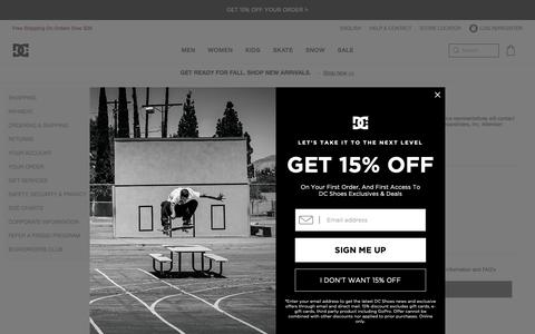 Screenshot of Contact Page dcshoes.com - Customer Service | Contact Us |               DC Shoes - captured Oct. 6, 2018