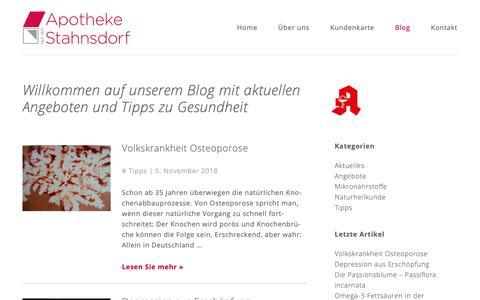 Screenshot of Blog apotheke-stahnsdorf.de - Blog - Apotheke Stahnsdorf - captured Dec. 2, 2018