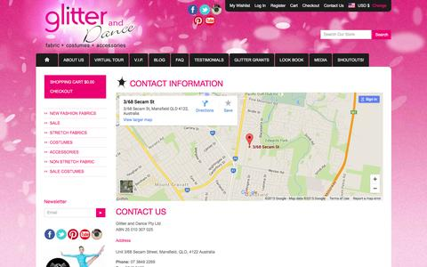 Screenshot of Contact Page glitteranddance.com.au - Glitter and Dance - Australia - Contact us Glitter and Dance - captured Dec. 9, 2015