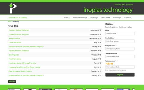 Screenshot of Press Page inoplas.co.uk - Plastic Injection Mouldings | Inoplas | News - captured Nov. 26, 2016