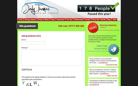 Screenshot of Testimonials Page jodythomasdriving.co.uk - Site guestbook | Driving Lessons Tunbridge Wells Sevenoaks Maidstone Crowborough: Jody Thomas Driving School - captured Oct. 6, 2014