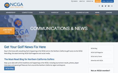 Screenshot of Press Page ncga.org - News - Northern California Golf Association - captured June 22, 2017