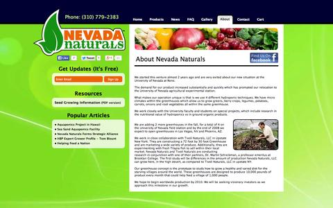 Screenshot of About Page nevadanaturals.com - Nevada Naturals - About - captured Oct. 9, 2014