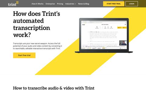 Screenshot of FAQ Page trint.com - How Trint's Automated Transcription Works - captured Aug. 20, 2019
