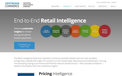 Screenshot of Products Page upstreamcommerce.com - Retail Pricing Products & Solutions | UpstreamCommerce - captured March 9, 2016
