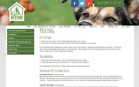 Screenshot of Pricing Page sitnstaypetservices.com - Sit n' Stay Pet Services | Buffalo NY, Dog Training, Dog Walking, Pet Sitting > Dog Walking/Pet Sitting > Pricing - captured July 2, 2018