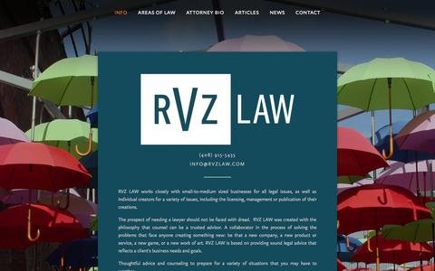 Screenshot of Home Page rvzlaw.com - RVZ LAW - captured Oct. 10, 2014