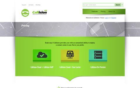 Screenshot of Pricing Page callision.com - Callision - captured Sept. 13, 2014