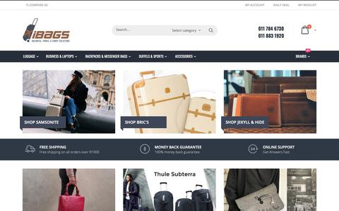 Screenshot of Home Page ibags.co.za - iBags Luggage, Leather Bags, Travel Accessories, Corporate Gifts - captured Oct. 13, 2018