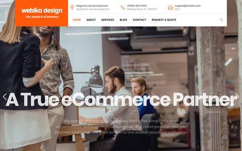 Screenshot of Home Page webika.com - Magento development company San Diego   Magento website design - captured Oct. 18, 2018