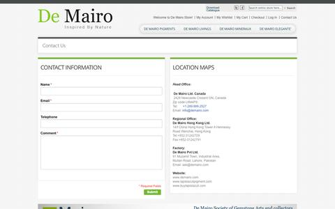 Screenshot of Contact Page Support Page demairo.com - Contact Us - captured Oct. 23, 2014