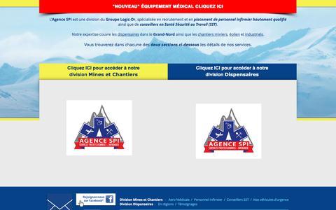 Screenshot of Home Page agencespi.org - Agence SPI - Agence de placement de personnel infirmier - captured Oct. 5, 2017