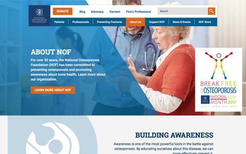 Screenshot of About Page nof.org - About Us - National Osteoporosis Foundation - captured July 1, 2017