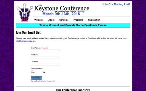 Screenshot of Signup Page keystone-conference.org - 2016 Keystone Conference - captured May 17, 2016