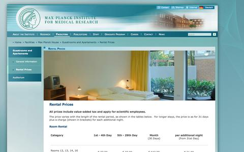 Screenshot of Pricing Page mpg.de - Max Planck Institute for Medical Research | Facilities | Max Planck House | Guestrooms and Apartements | Rental Prices - captured Sept. 18, 2014