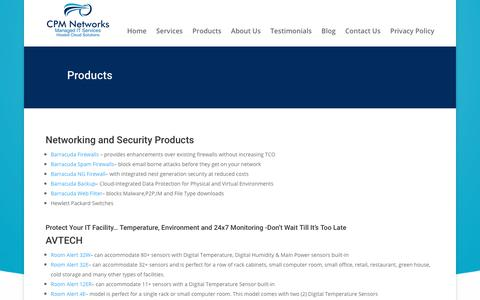 Screenshot of Products Page cpm-net.com - Products - CPM Networks - captured Sept. 25, 2018