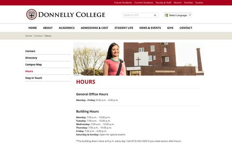 Screenshot of Hours Page donnelly.edu - Hours | Donnelly College - captured Nov. 24, 2016