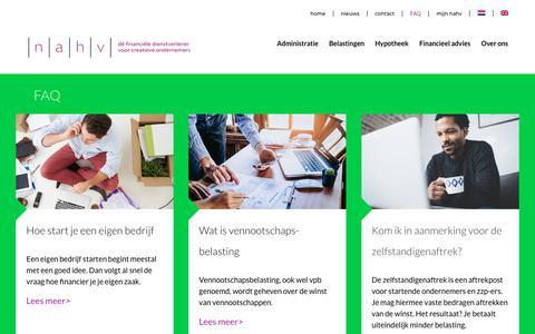 Screenshot of FAQ Page nahv.nl - Veelgestelde vragen (FAQ) ǀ NAHV Belastingadviseurs Amsterdam - captured Oct. 19, 2018