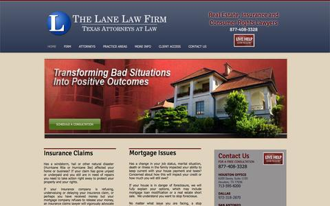 Screenshot of Home Page lanelaw.com - The Lane Law Firm - Insurance Claims and Foreclosure Defense - Houston - captured Oct. 3, 2014
