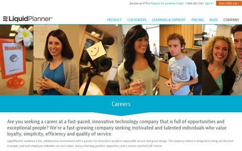Screenshot of Jobs Page liquidplanner.com - Work for us! LiquidPlanner Careers - captured July 20, 2014