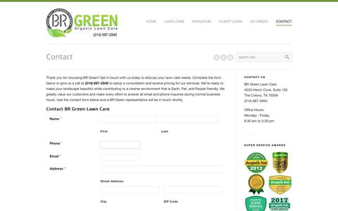 Screenshot of Contact Page brgreenlawncare.com - Organic Lawn Care Estimate - Free of Cost | BR Green - captured Oct. 5, 2018