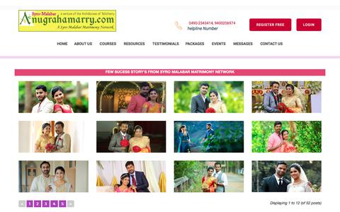 Screenshot of Testimonials Page anugrahamarry.com - Anugrahamarry  | Archdiocese of Tellicherry Matrimony Service-Success Stories in Syro-Malabar Matrimony - Catholic Matrimony, Christian Matrimony, Kerala Catholic Matrimonial - captured July 11, 2018