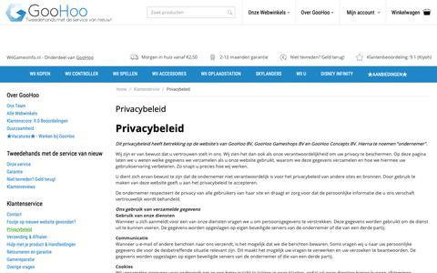 Screenshot of Privacy Page wiigamesinfo.nl - Privacybeleid van GooHoo - captured Oct. 21, 2018