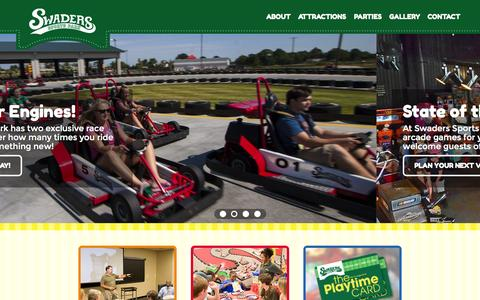 Screenshot of Home Page swaders.com - Central VA Outdoor Sports Park | Go-Karts & Arcade in Richmond - captured Aug. 12, 2015