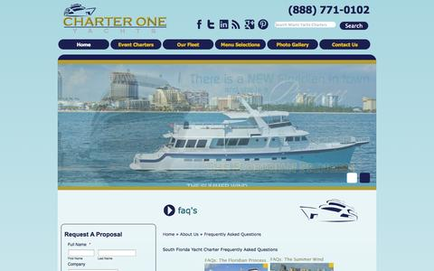Screenshot of FAQ Page yachtchartersnow.com - South Florida Yacht Charter Frequently Asked Questions - captured Oct. 2, 2014