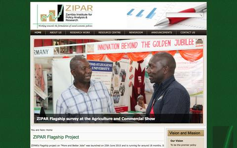 Screenshot of Home Page zipar.org.zm - Zambia Institute for Policy Analysis and Research - captured Feb. 16, 2016