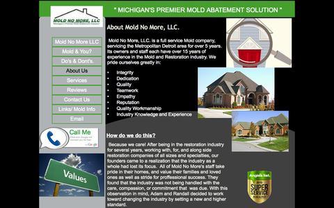 "Screenshot of About Page moldnomorellc.com - \"" Michigans Premier Mold Abatement Soultion \"" Mold No More, LLC. - captured Oct. 7, 2014"